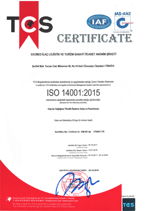 Ekomed İlaç ISO 14001 quality certificate