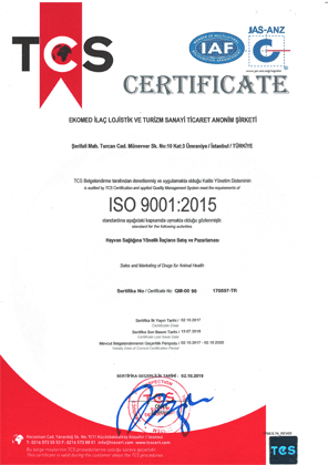 Ekomed İlaç ISO 9001 quality certificate
