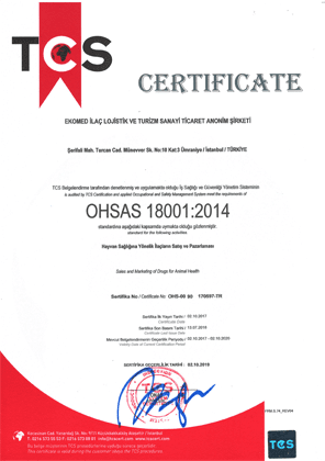 Ekomed İlaç OHSAS 18001 quality certificate